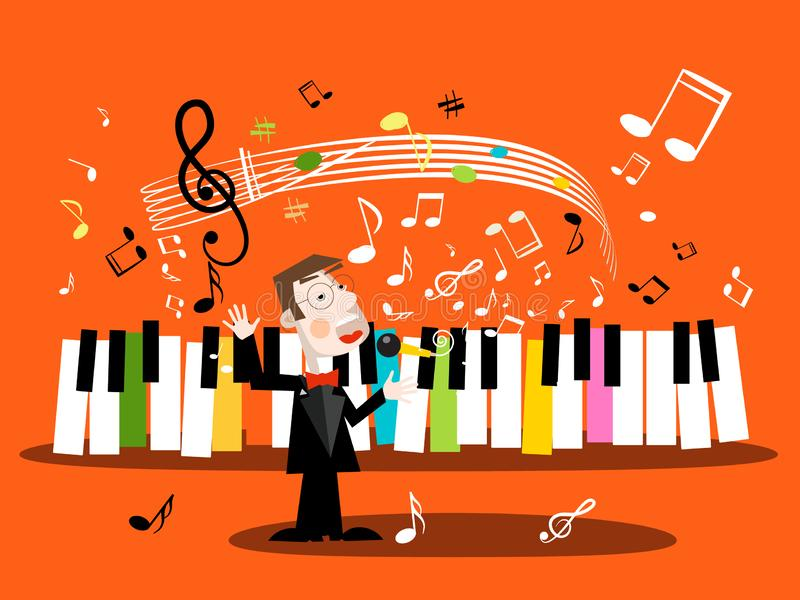 Man Singing Song with Piano Keyboard and Notes. Vector Singer and Music Staff royalty free illustration