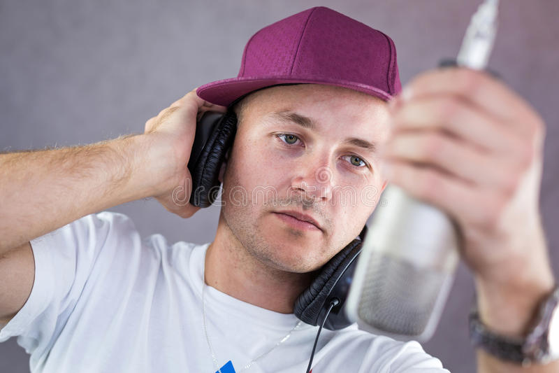 Download Man singing in the studio stock image. Image of hop, dancer - 33053371