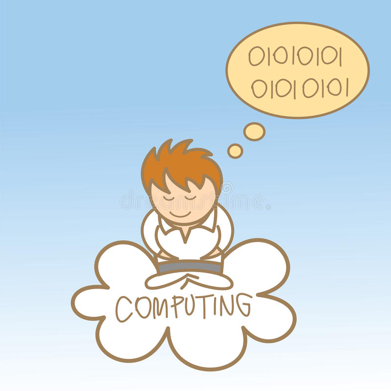Man sit on cloud computing
