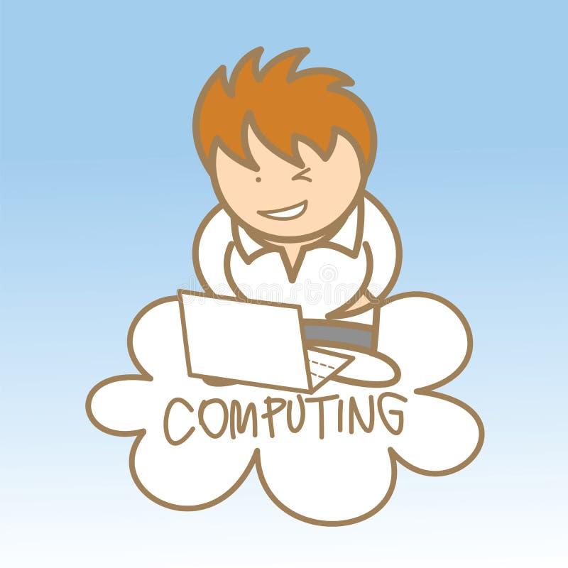Man Sit On Cloud Computing Stock Photography