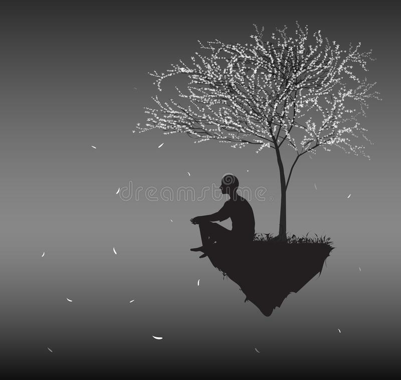 Man sits on flying rock look at falling cherry white leaves and think about sense of human life, silhouettes of people. In the dream land, vector royalty free illustration