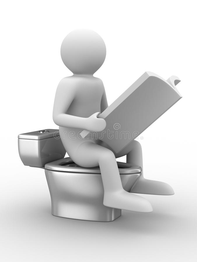 Man Sits On Toilet Bowl With Magazine Royalty Free Stock Image