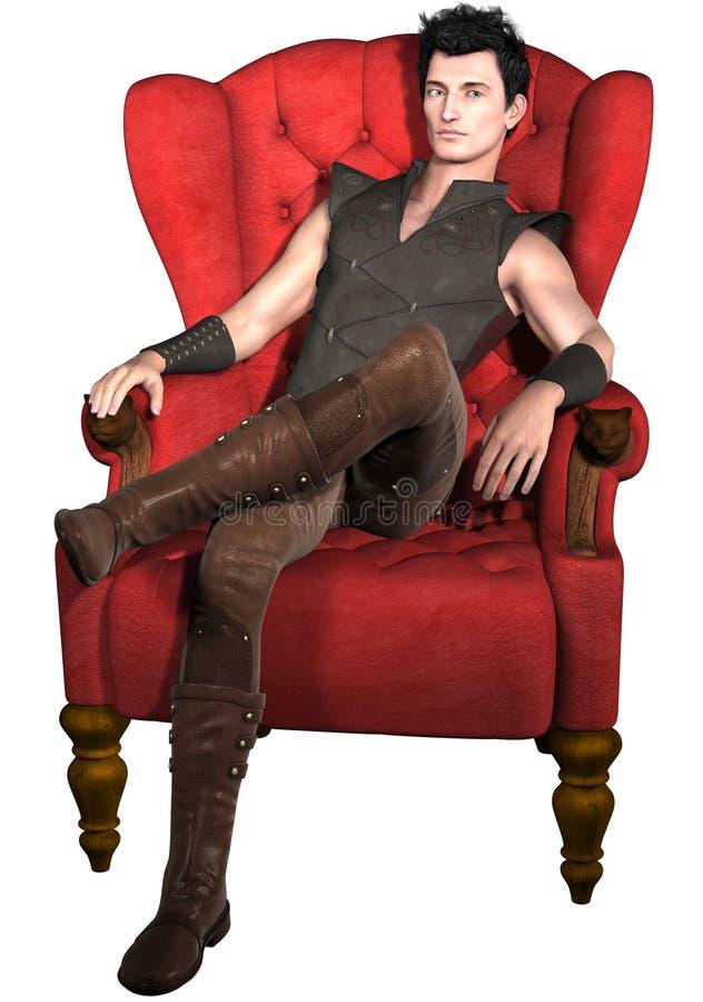 Man Sitting In An Armchair Stock Illustration