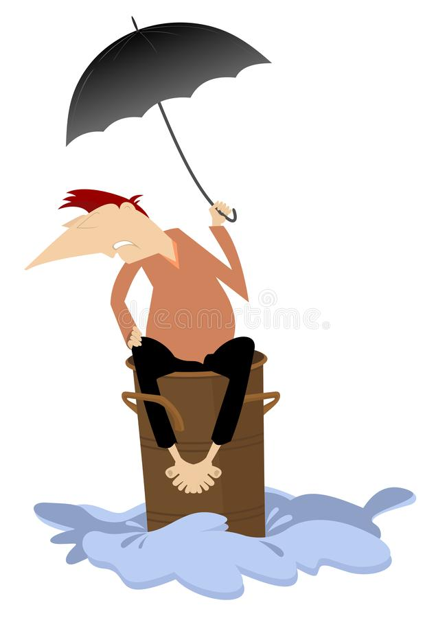 Man sitting on the barrel escapes from the flood illustration royalty free illustration