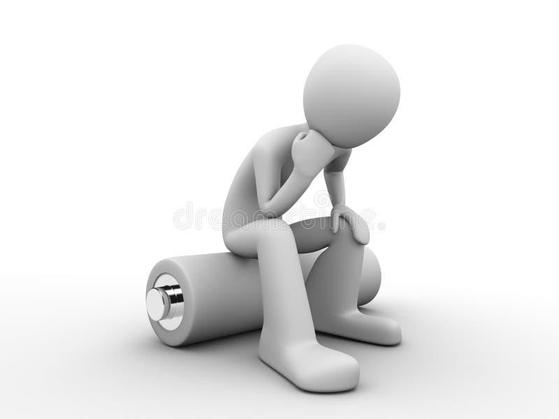 Man sitting on a battery vector illustration