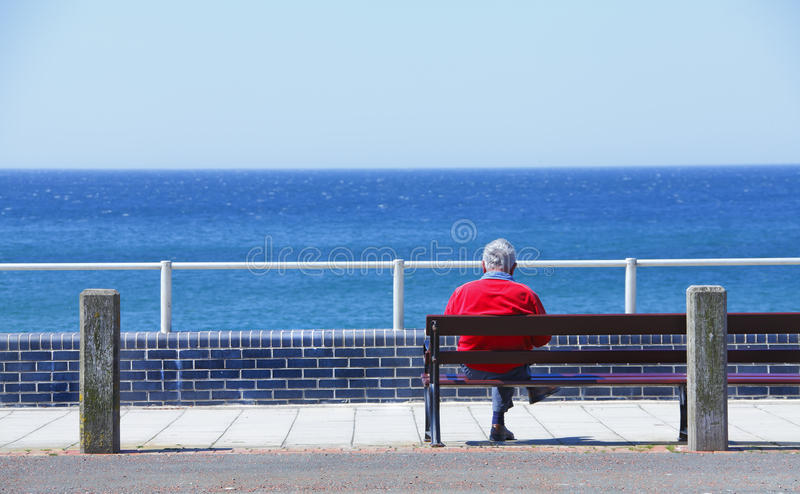 Download Man sitting on bench stock image. Image of solitary, view - 25156861
