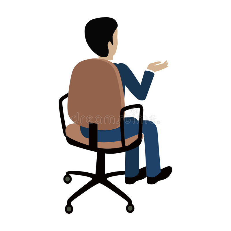 Man Sitting on the Chair and Pointing on Something stock illustration