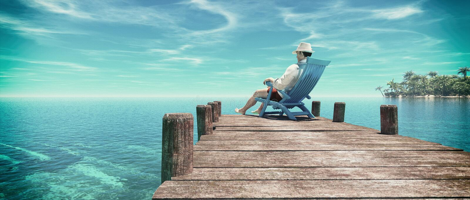 Man sitting in a chair royalty free stock image