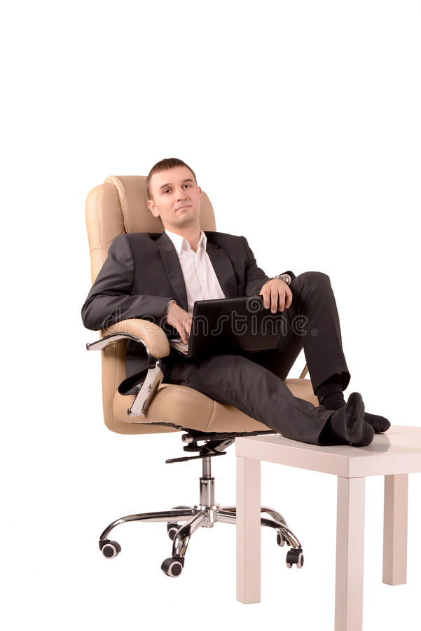 Man Sitting In A Chair Stock Photo Image Of Laptop