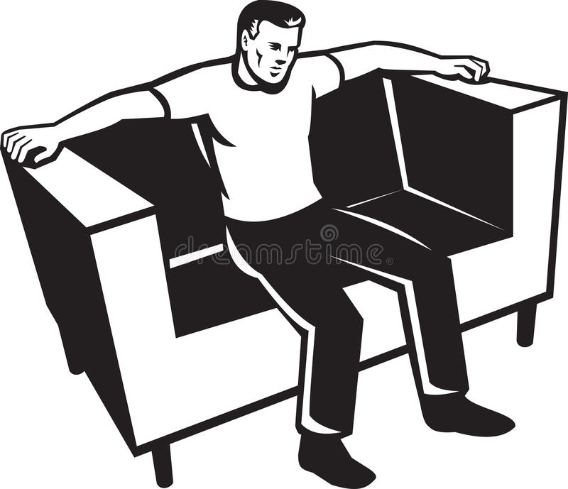 Man Sitting On Couch Chair