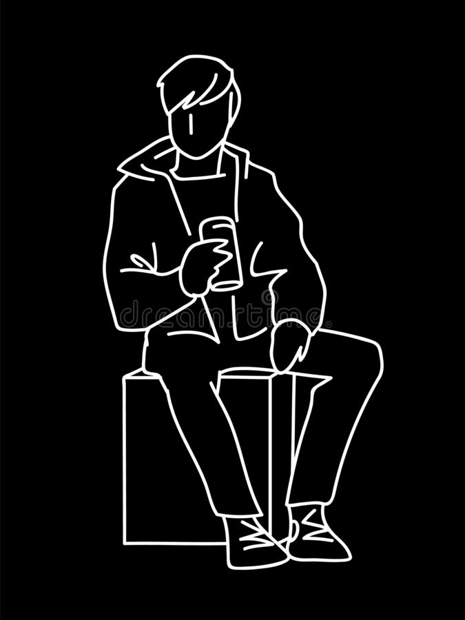 Man sitting on cube with can of soda or other soft drink. White lines isolated on black background. Consept. Vector. Illustration of man in simple line art vector illustration