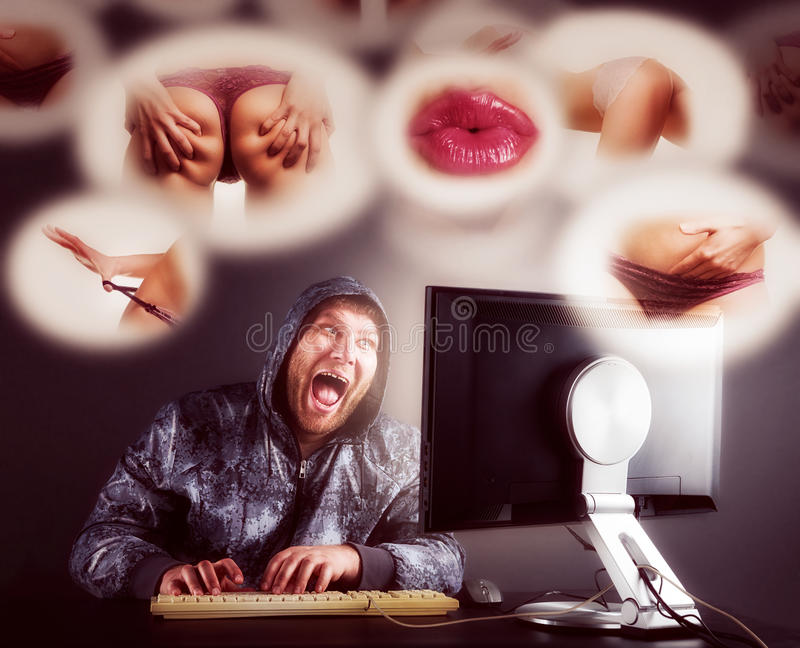 Man sitting at desk looking on computer screen. Fat men checking web sites. Toned royalty free stock photo