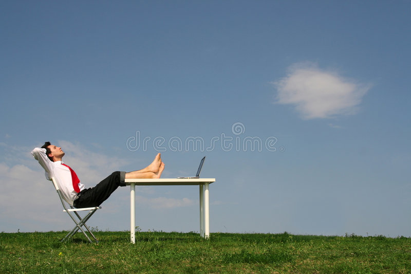 Download Man Sitting At Desk, Outdoors Stock Photo - Image: 2808266