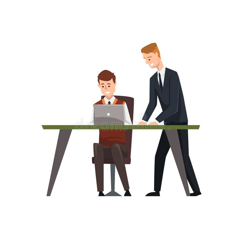 Man sitting at desk working on laptop computer, his colleague standing next to him, businessmen at work, coworking stock illustration