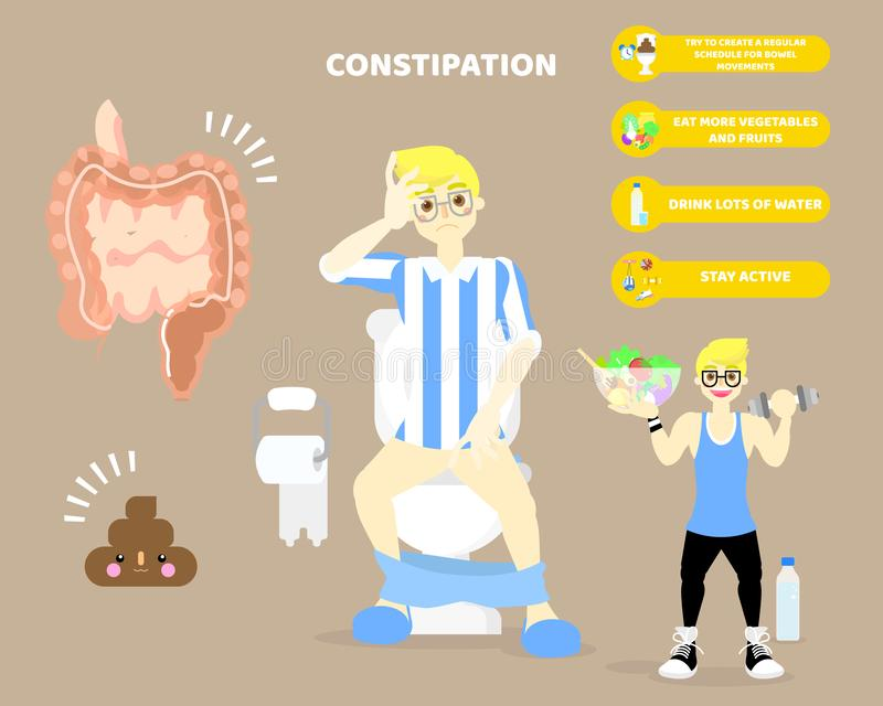 man sitting on flush toilet with constipation, large and small intestine,internal organs body part, health care infographic vector illustration