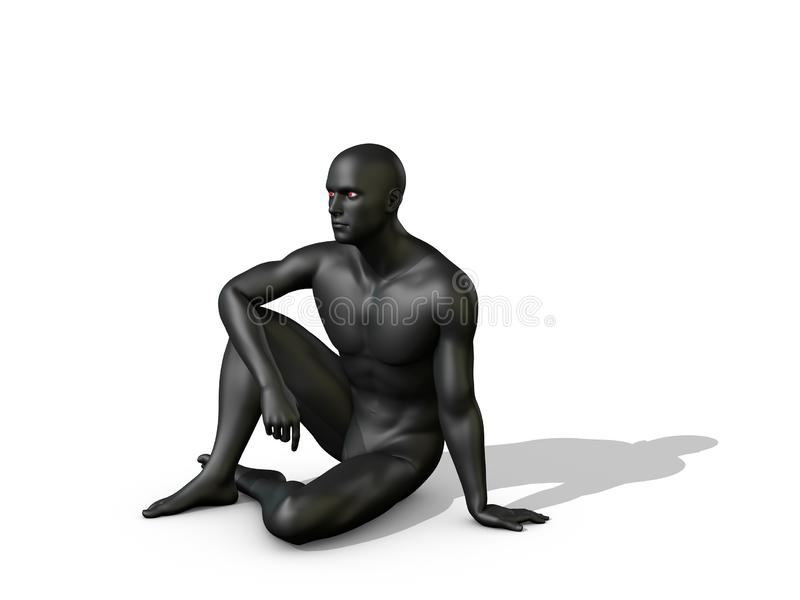 Man sitting on the ground. 3D rendering illustration. Man sitting on the ground. Isolated on white background. 3D rendering illustration stock illustration