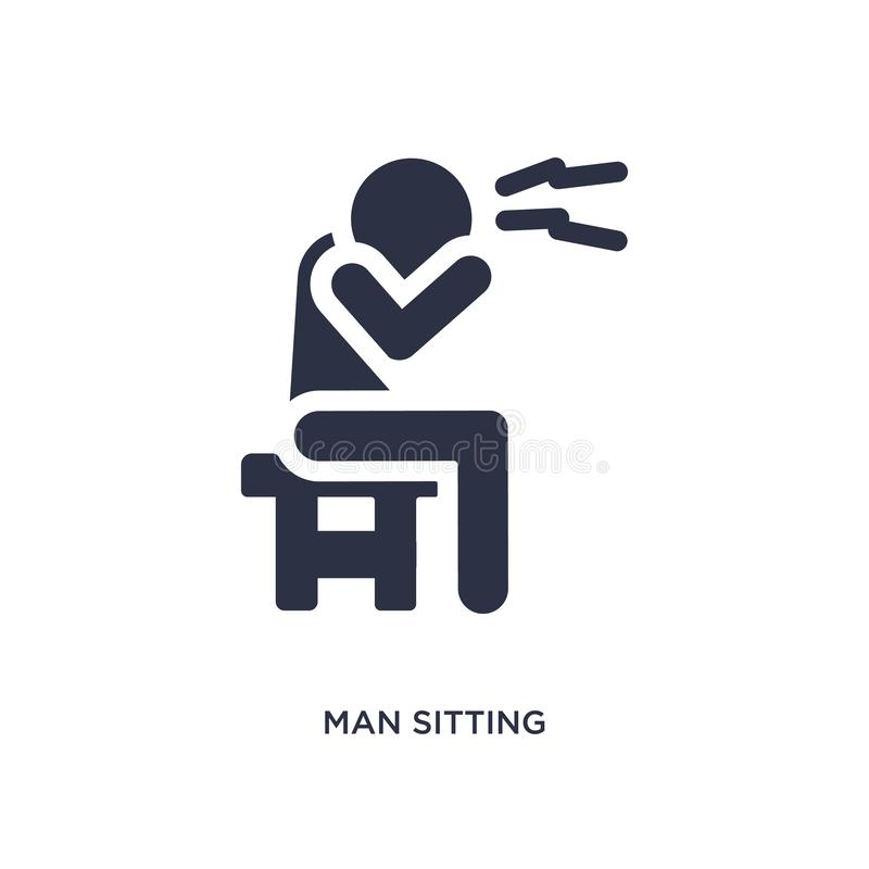 man sitting with headache icon on white background. Simple element illustration from behavior concept royalty free illustration