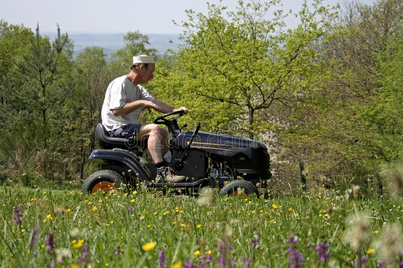 Man sitting on lawnmover royalty free stock photography