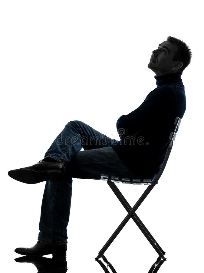 Man Sitting Looking Up Silhouette Full Length Royalty Free