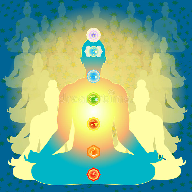 Man sitting in lotus position meditating with chakra. Background people sitting in lotus position meditating with chakra. vector illustration royalty free illustration