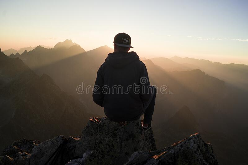 Man Sitting On The Mountain Edge Free Public Domain Cc0 Image
