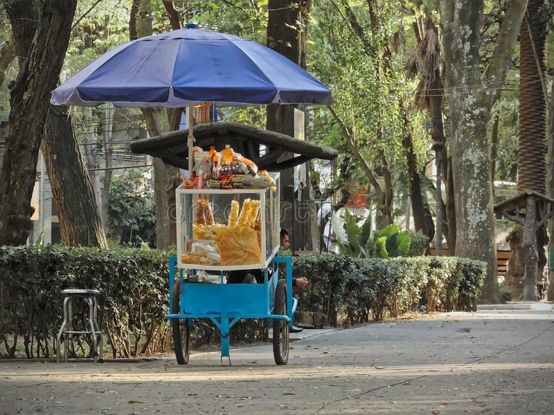 Man sitting next to street food cart with snacks and sweets in `Parque Mexico`. Mexico City, D.F. / Mexico - February 02 2016: Man sitting next to street food royalty free stock photography
