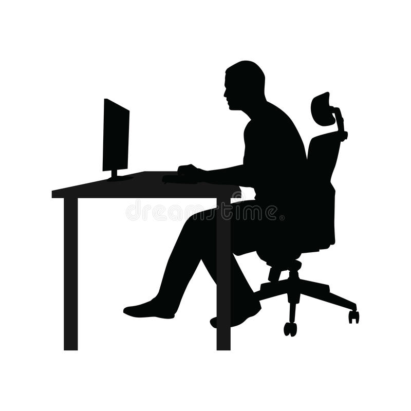 Man Sitting On Office Chair At Table And Working Stock ...