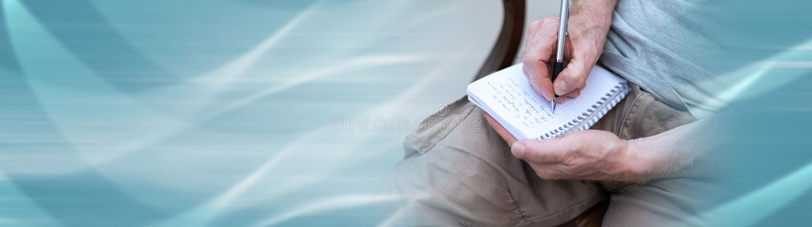 Man taking notes on a pocket book. panoramic banner. Man sitting outdoor taking notes on a pocket book. panoramic banner vector illustration