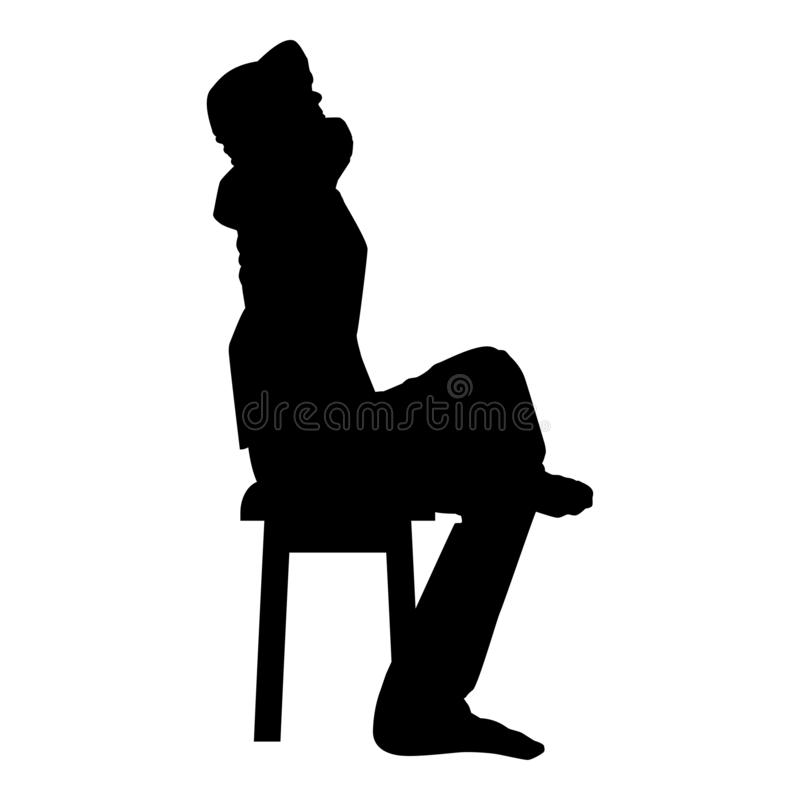 Man sitting pose with hands behinds head Young man sits on a chair with his leg thrown silhouette icon black color illustration. Man sitting pose with hands royalty free illustration