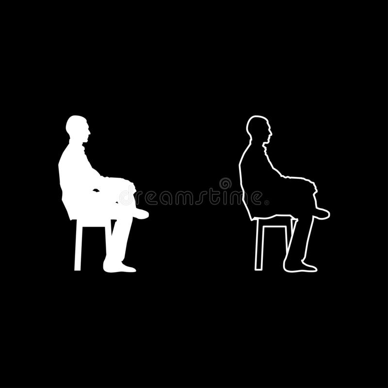 Man sitting pose Young man sits on a chair with his leg thrown silhouette icon set white color illustration flat style simple. Man sitting pose Young man sits on royalty free illustration