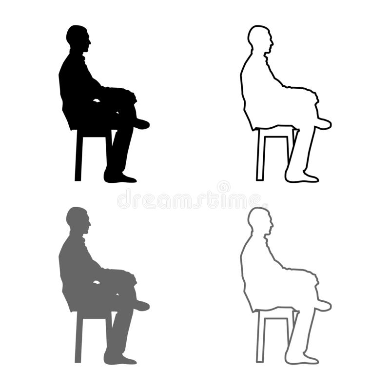 Man sitting pose Young man sits on a chair with his leg thrown silhouette icon set grey black color illustration outline flat. Man sitting pose Young man sits on royalty free illustration