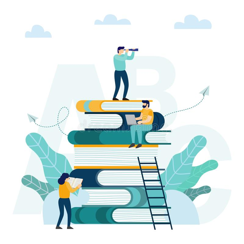 Man sitting and reading on a huge pile of books. Concept of distance studying and self education royalty free illustration