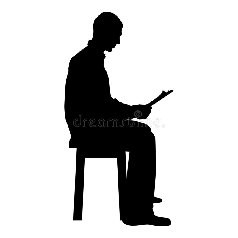 Man sitting reading Silhouette concept learing document icon black color illustration. Man sitting reading Silhouette concept learing document icon black color royalty free illustration