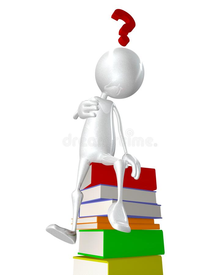 Man sitting on stack of books - question mark royalty free illustration
