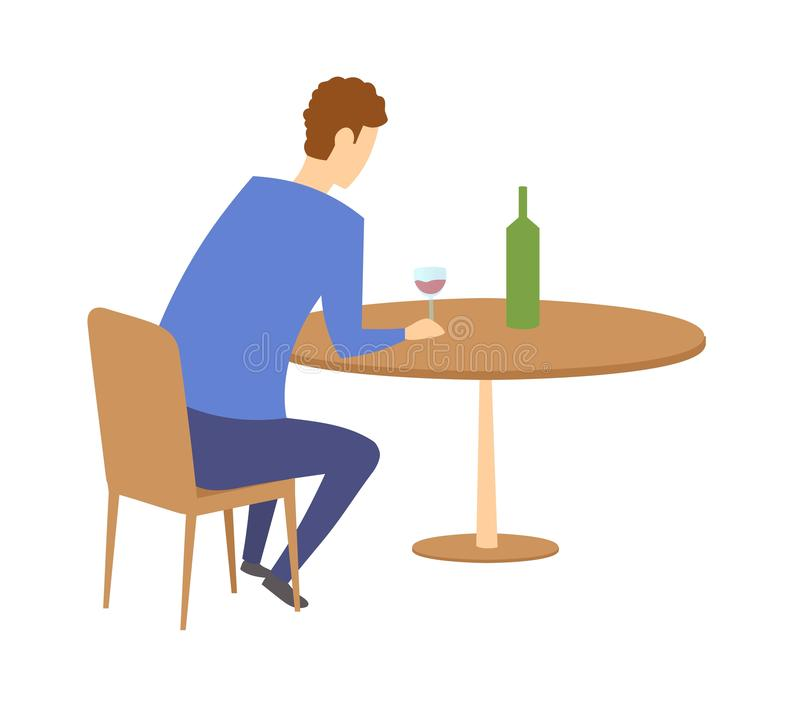 Man sitting by the table with a bottle of wine in front of him. Having a drink in a bar or cafe. Flat vector vector illustration