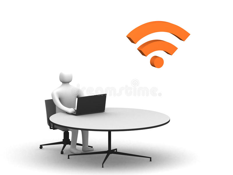 Download Man Sitting At The Table And Working On A Laptop Stock Illustration - Illustration: 21601756