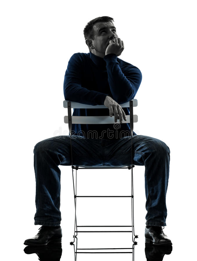 Download Man Sitting  Thinking Pensive Silhouette Full Length Stock Photos - Image: 28879123