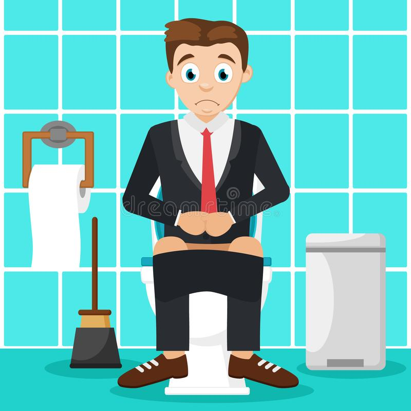 Man sitting on the toilet in the bathroom. Indigestion. Man in a suit sitting on the toilet in the bathroom. Indigestion stock illustration