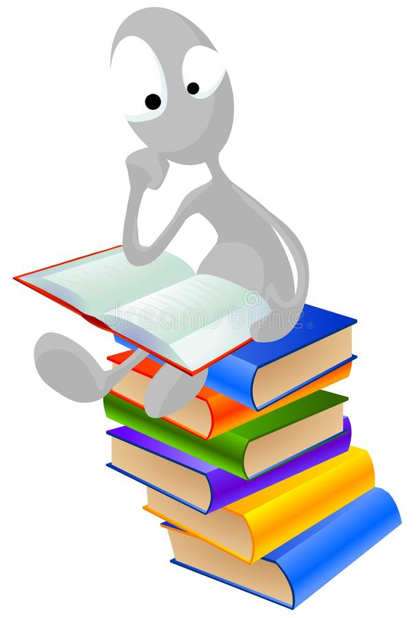 Download Man Sitting On Top Of The Books Stock Illustration - Illustration: 18588374