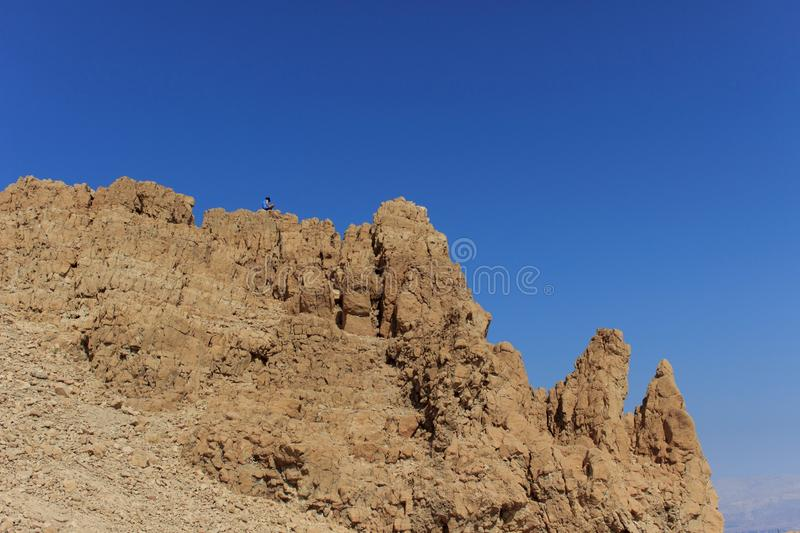 Man is sitting on top of mountain and enjoying the dead sea landscape royalty free stock photography