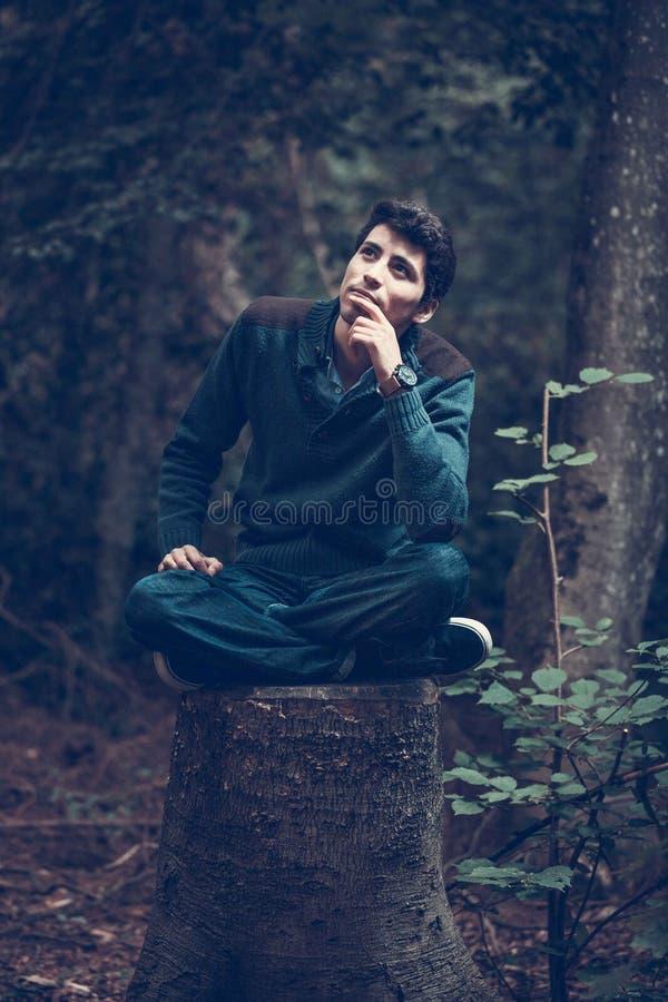 Man sitting on tree stump royalty free stock photo