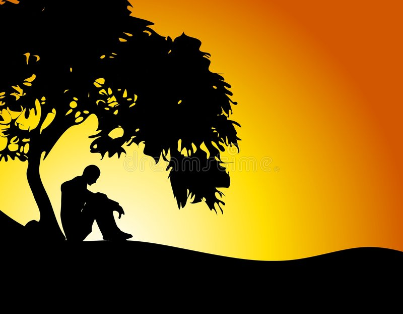 Man Sitting Under Tree Sunset. An illustration featuring a man sitting under a tree in solitude at sunset
