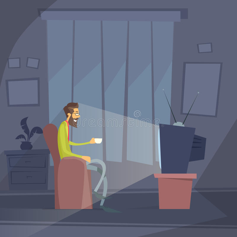 Man Sitting Watching Tv Home Chair Drink Coffee. Night Flat Vector Illustration stock illustration