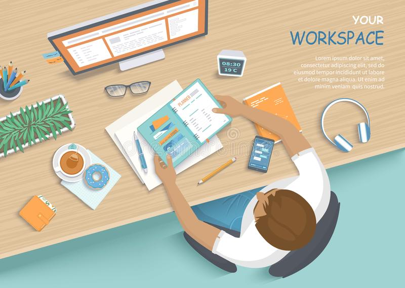 Man sitting at the wooden table. Workplace Desktop Workspace Armchair, office supplies, monitor. Top view stock illustration