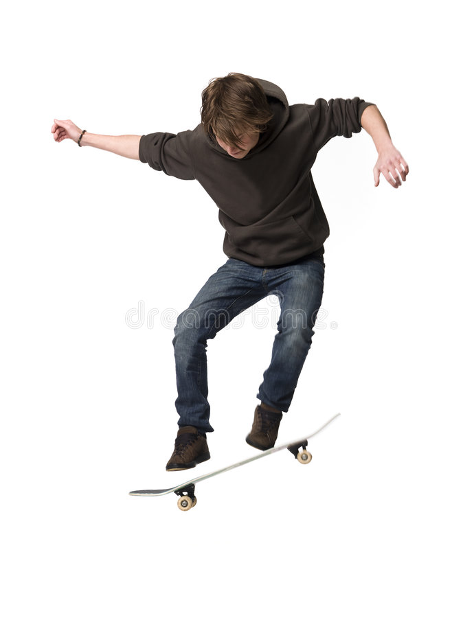 Man with skateboard. Man jumping with his skateboard stock images