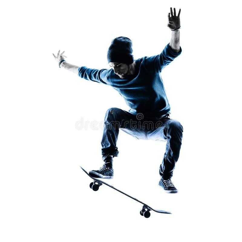 Free Man Skateboarder Skateboarding Silhouette Royalty Free Stock Photos - 54396058