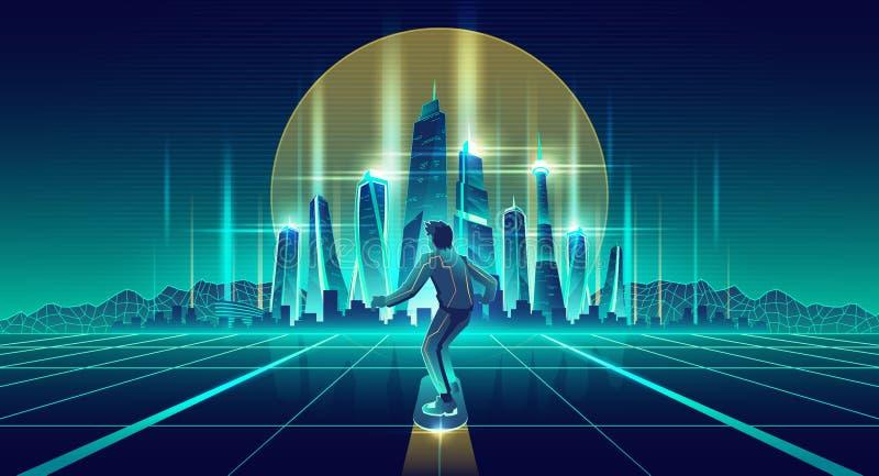 Man skateboarding in future metropolis vector. Skateboarding in virtual reality cartoon vector background. Man flying on levitating skateboard under glossy vector illustration