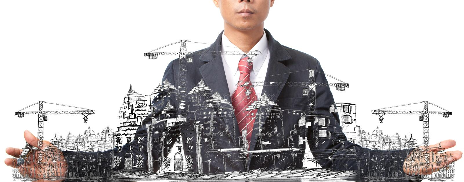 Man sketching of building construction on white stock photography
