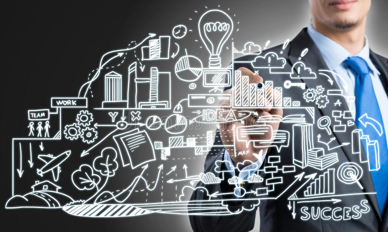 Man sketching business ideas. Close view of businessman drawing strategy plan on screen royalty free stock image