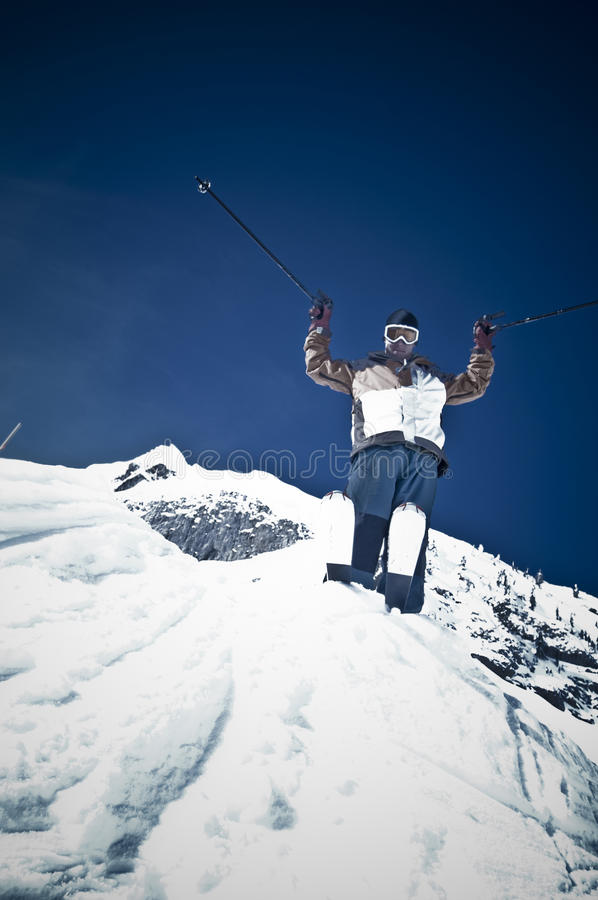 Man ski jump stock photos